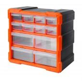 Κουτί αποθήκευσης πλαστικό με 12 πλαστικά συρτάρια διάφανα