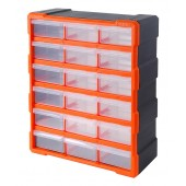 Κουτί αποθήκευσης πλαστικό με 18 συρτάρια διάφανα